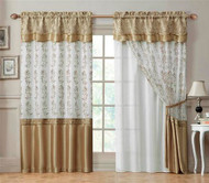 "Double-Layer Window Curtain Drapery Panel: White Back Panel with Gold Embroidered Sheer Front and Valance, 55""x90"""