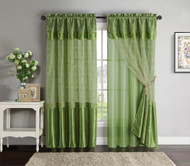 "Double-Layer Window Curtain Drapery Panel: Green Back Panel with Green Embroidered Sheer Front and Valance, 55""x90"""