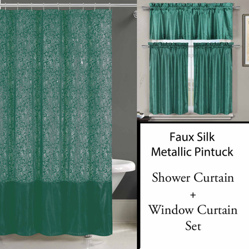 Teal Shower Curtain And 3 Pc Window Curtain Set Metallic
