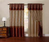 "One Piece Window Curtain Drapery Sheer Panel: Cinnamon and Gold, Attached Backing and Valance 55""x90"":"