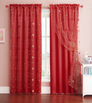 Red Window Curtain Panel with Circle Design Sheer Top Layer: 55in x 90in