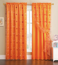 Orange Window Curtain Panel with Circle Design Sheer Top Layer: 55in x 90in