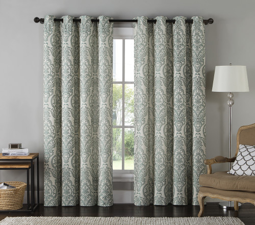 Jacquard Window Curtain Panel Damask Print Teal And