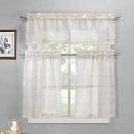Linen and Coffee 3 Piece Kitchen Window Curtain Set:  1 Valance, 2 Tiers