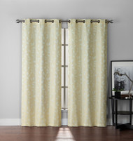 "Set of Two (2) Leaf and Branch Design Jacquard Window Curtain Panels: Ivory, Total Size 110"" x 90"""