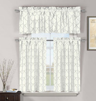 White 3 Pc Kitchen Window Curtain Set: Faux Silk, Metallic Raised Pin Dots Fish Scale Design