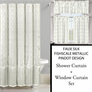 Ivory White Shower Curtain and 3 Pc Window Curtain Set:  Metallic Raised Pin Dots, Fish Scale Design