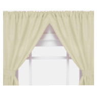 Bone Double Swag Vinyl Bathroom Window Curtains w/ Tie Backs