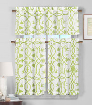 3 Piece Semi Sheer Window Curtain Set: Green and White Botanical Design, 2 Tiers, 1 Valance