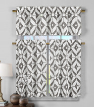3 Piece Semi Sheer Window Curtain Set: Gray and White Geometric Design, 2 Tiers, 1 Valance