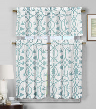 3 Piece Semi Sheer Window Curtain Set: Teal Blue and White Botanical Design, 2 Tiers, 1 Valance