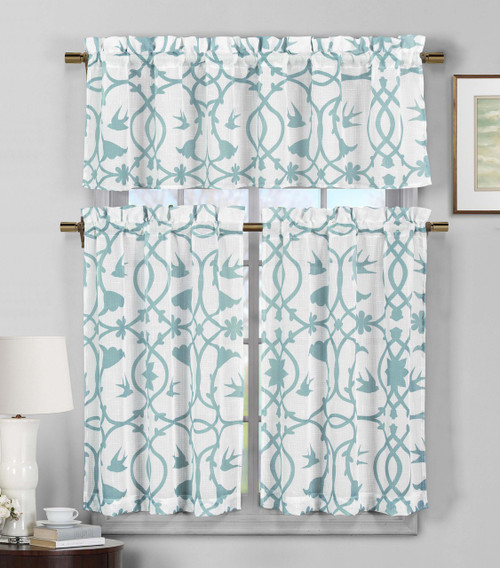 3 Piece Semi Sheer Window Curtain Set Teal Blue And White