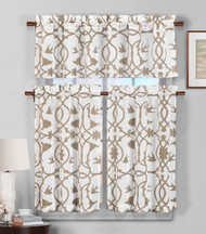 3 Piece Semi Sheer Window Curtain Set: Light Brown and White Botanical Design, 2 Tiers, 1 Valance