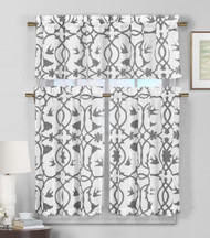 3 Piece Semi Sheer Window Curtain Set: Gray and White Botanical Design, 2 Tiers, 1 Valance