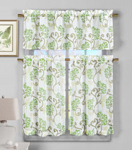 3 Piece Semi Sheer Window Curtain Set: Sage Green Floral Vine Deisgn, 2 Tiers, 1 Valance
