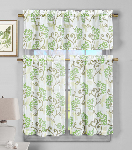 3 Piece Semi Sheer Window Curtain Set Sage Green Floral