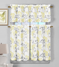 3 Piece Semi Sheer Window Curtain Set: Yellow Floral Vine Deisgn, 2 Tiers, 1 Valance