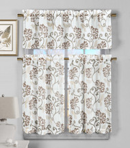 3 Piece Semi Sheer Window Curtain Set: Brown Floral Vine Deisgn, 2 Tiers, 1 Valance