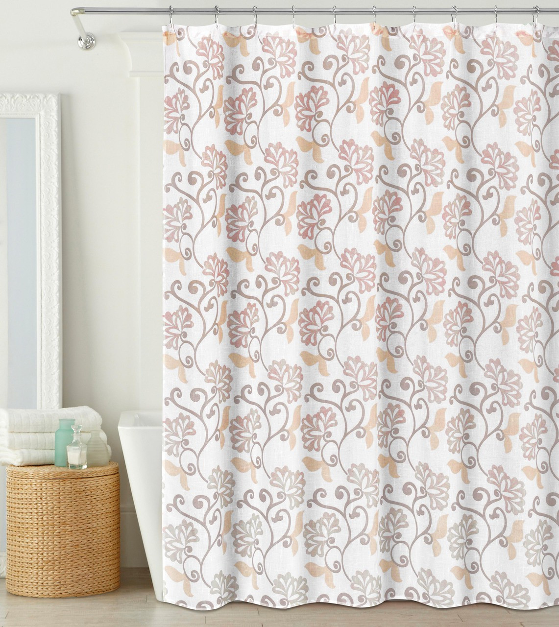 Fabric Shower Curtain Semi Sheer Blush And Off White Floral Design 70 X 72
