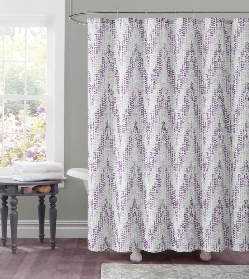 Dobby Fabric Shower Curtain Purple Plum Chevron Tile Design 72 X