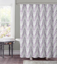 "Dobby Fabric Shower Curtain: Purple Plum Chevron Tile  Design, 72"" x 72"""