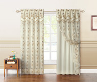 "Two Panel Beige and Gold Double Layer Embroidered Window Curtain: Floral Design, Attached Valance,  110""x90"""