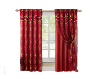 "Red and Gold Double Layer Embroidered Window Curtain: Floral Design, Attached Valance,  55""x90"", One Panel"