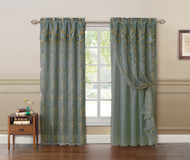 "Gray Blue and Gold Double Layer Embroidered Window Curtain: Floral Design, Attached Valance,  55""x90"", One Panel"