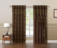 "Chocolate Brown and Gold Double Layer Embroidered Window Curtain: Floral Design, Attached Valance,  55""x90"", One Panel"