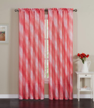 "Peach Crushed Taffeta Window Curtain Panel: 55""W x 90""L, Diagonal Ombre Design"