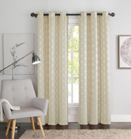 "Two (2) Natural Linen and Beige Window Curtain Panels: Geometric Design, 76"" x 84"", Grommets"
