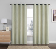 """Set of Two (2) Jacquard Window Curtain Panels: Sage, Taupe, Silver, Geometrical Design, Grommets, 110"""" x 90"""""""