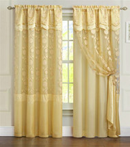 """One Piece Gold Window Curtain Panel: Attached Valance and Backing, Floral Design,  55""""x90"""""""