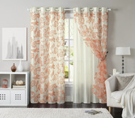"Set of Two (2) Off-White Grommet Window Curtain Panels: Coral Floral Design, Double Layer, Flocked, 110""W x 90""L"