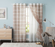 "Set of Two (2) Off-White Grommet Window Curtain Panels: Chocolate Trellis Design, Double Layer, Flocked, 55""W x 90""L"