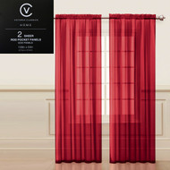 "Two (2) Red Sheer Rod Pocket Window Curtain Panels: 108""W x 84""L, Fully Hemmed"