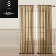 "Two (2) Taupe Sheer Rod Pocket Window Curtain Panels: 108""W x 84""L, Fully Hemmed"