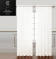 "Two (2) White Sheer Rod Pocket Window Curtain Panels: 108""W x 84""L, Fully Hemmed"