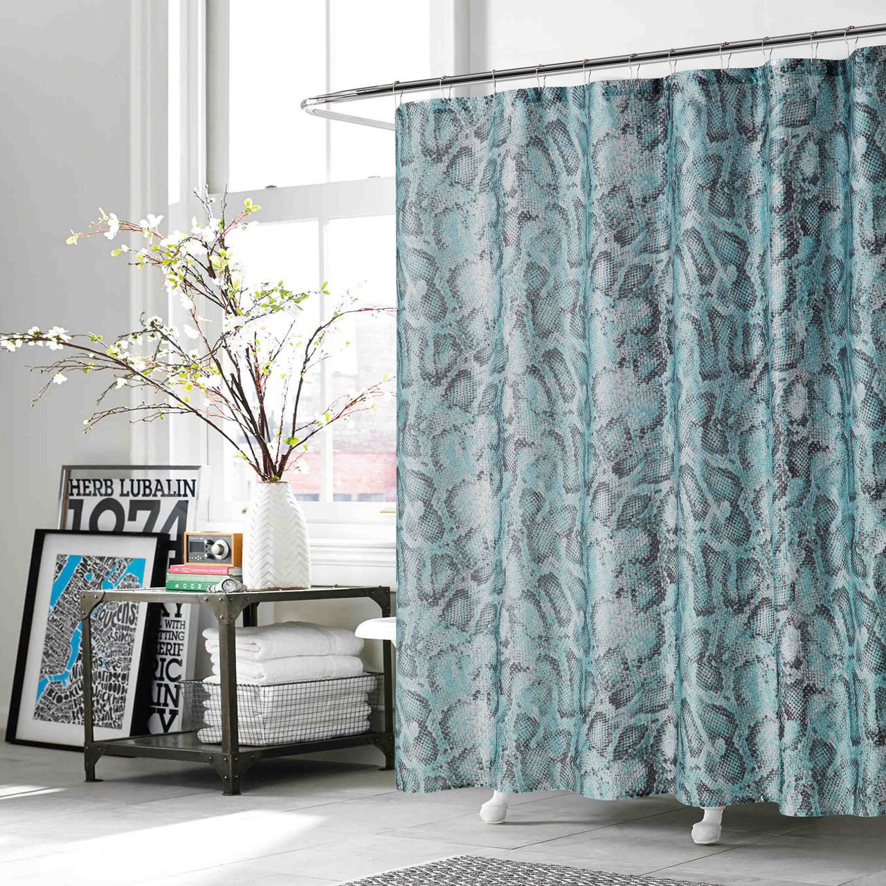 Teal And Charcoal Fabric Shower Curtain Snake Reptile Print 70 W X 72 L