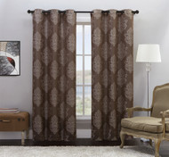 """Set of Two (2) Brown Jacquard Window Curtain Panels: Grommets, Off-White Medallion Design, 76""""W x 84""""L"""