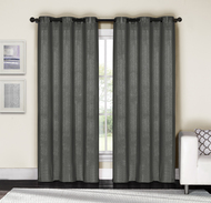 "Gray and Silver Metallic Grommet Window Curtain Panel Pair: Cotton Blend, 76""W x 84""L"