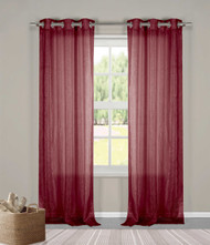 "Two (2) Sheer Grommet Window Curtain Panels: Burgundy Metallic, 76"" x 84"""