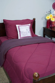 Magenta Purple Plum 5 Piece Dorm Twin XL Reversible Bed In A Bag with Comforter, Flat Sheet, Fitted Sheet and 2 Pillowcases
