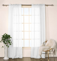 "Set of Two (2)  Sheer  Window Curtain Panels: White Satin Stripe, 76""W x 84""L"