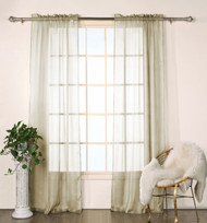 "Set of Two (2)  Sheer  Window Curtain Panels: Taupe Satin Stripe, 76""W x 84""L"