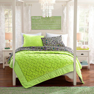 3 Pc. Lime Green Soft Mink Quilt Set: Reversible, Size Full