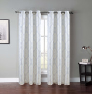 "Set of Two (2) Grommet Window Curtain Panels: Light Gray with Ivory Medallion, 76"" x 84"""