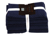 6 Piece Navy Towel Set: 100% Cotton, 2 Bath, 2 Hand Towels, 2 Washcloths
