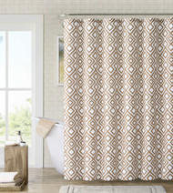 "Fabric Shower Curtain: White, Brown and Taupe Diamond Design, 72"" x 72"""