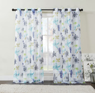 """Extra Long Two (2) Piece Sheer Grommet Window Curtain Panels: Teal Blue, Green and Indigo, Floral Design, 108"""" x 108"""""""